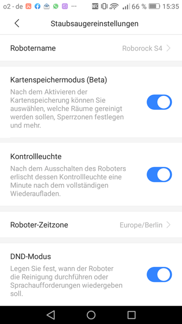 Roborock-App-Einstellungen