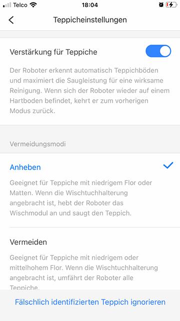 S7-Wischen-Teppicheinstellungen-Screenshot